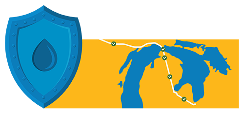 Map of pipeline in relation to the great lakes